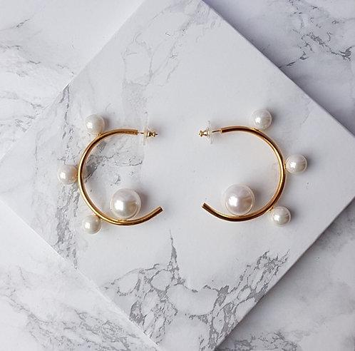Big Pearl Hoops- Gold