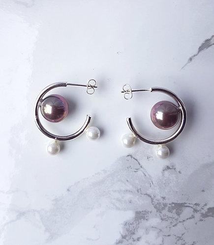 The Pearl Mini Hoops- Silver