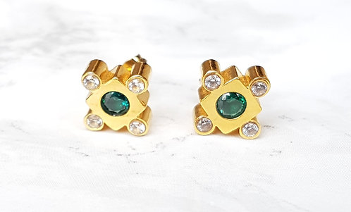 Lily crystal studs- Gold & Green
