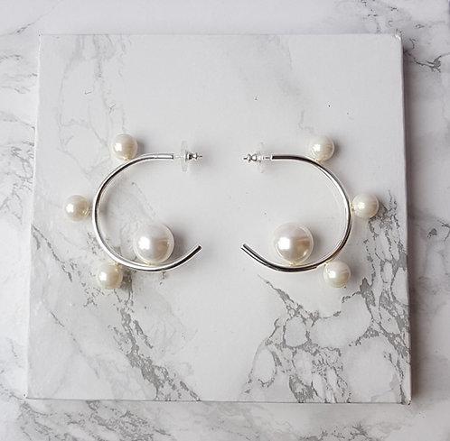 Big Pearl Hoops- Silver