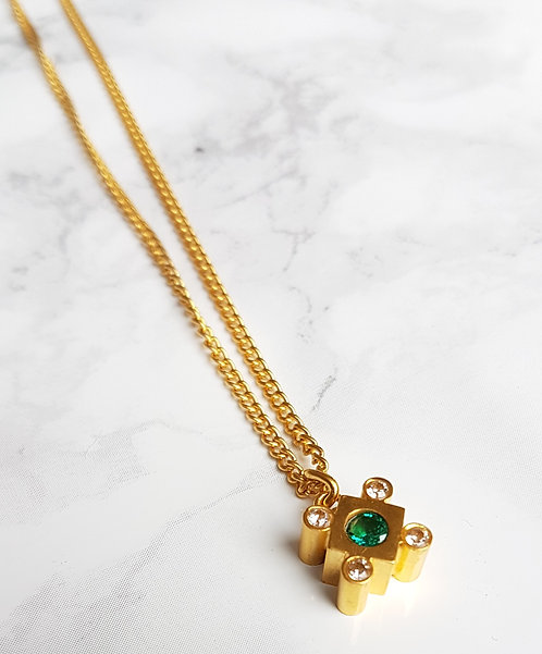 Lily crystal square necklace- Gold & Green