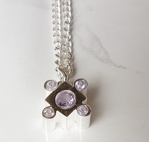 Lily crystal square necklace-Silver & Lavender