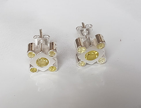 Lily crystal studs- Silver & Lime green