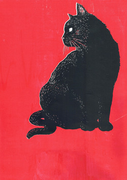 Black Cat Screen Print