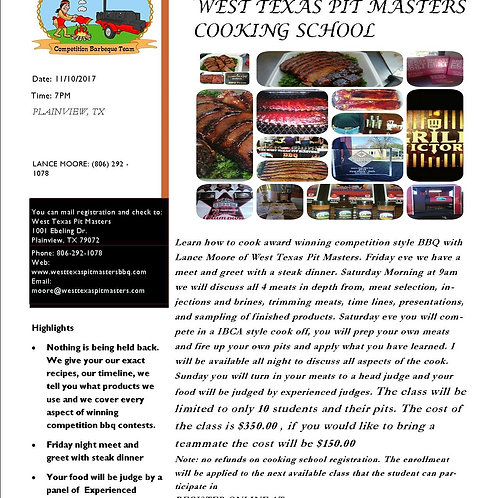 November 10th Competition Cooking School