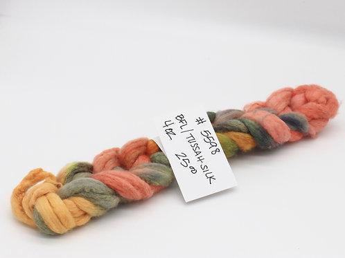 70% BFL 30% Tussah Silk Hand Painted Roving