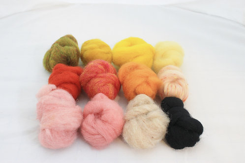 Felting Wool  Mix 3, Corriedale, Merino Blend and Hand Dyed Wool #5484