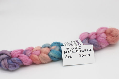 70% BFL 30% Kid Mohair Hand Painted Roving