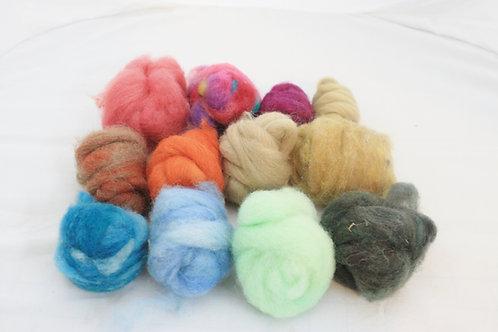 Felting Wool  Mix 8   Corriedale Wool, Hand Dyed Wool, Merino Wool, Needle Felti