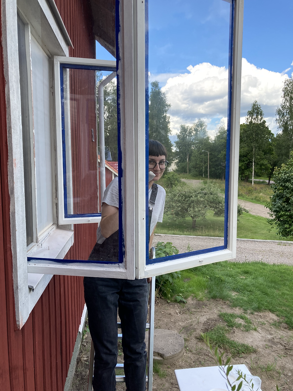 painting and repairing wooden windows