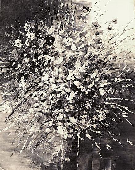 Rainbow Florist, original black and white flower painting by Tatiana Iliina