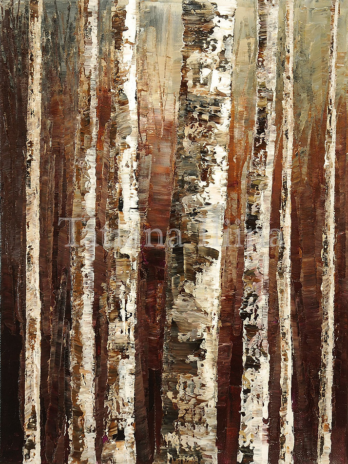 Bunch of Birch, original landscape forest palette knife painting by Tatiana iliina