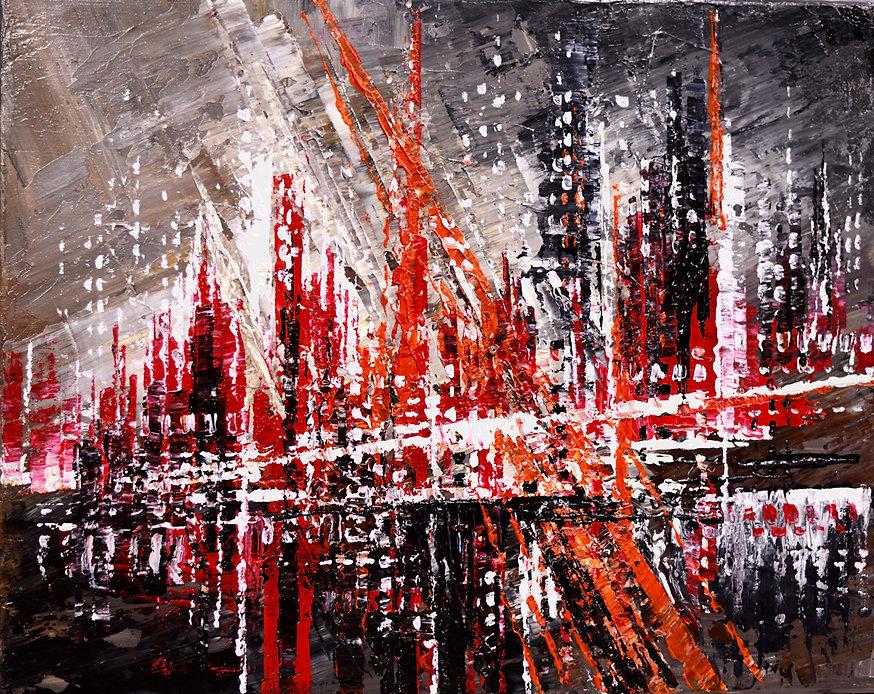 Urban Retro, original abstract cityscape red, black, painting by Tatiana iliina