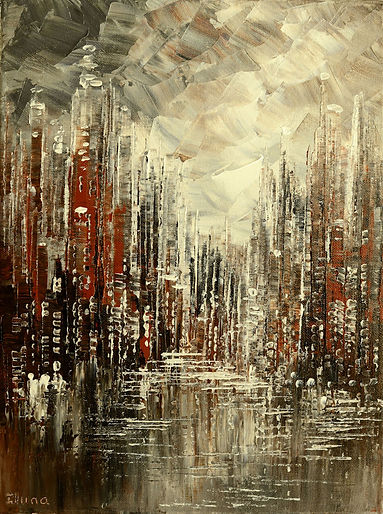 Cornerstone, original steampunk cityscape palette knife painting by Tatiana Iliina, with snow on autumn trees