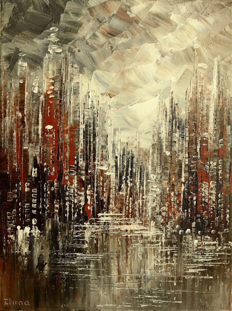 Cornerstone, original urban cityscape palette knife painting by Tatiana Iliina, with snow on autumn trees