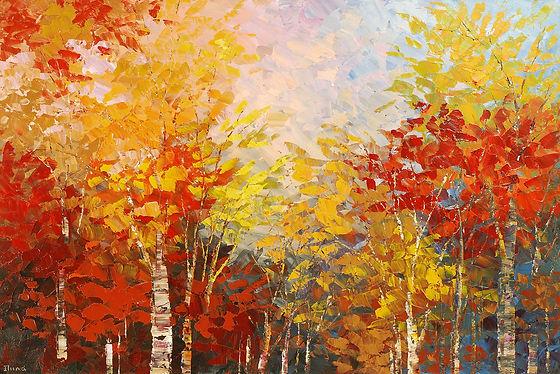"original fall foliage landscape forest painting by Tatiana Iliina, red, yellow, orange, palette knife, acrylic on canvas, 24""x36"""