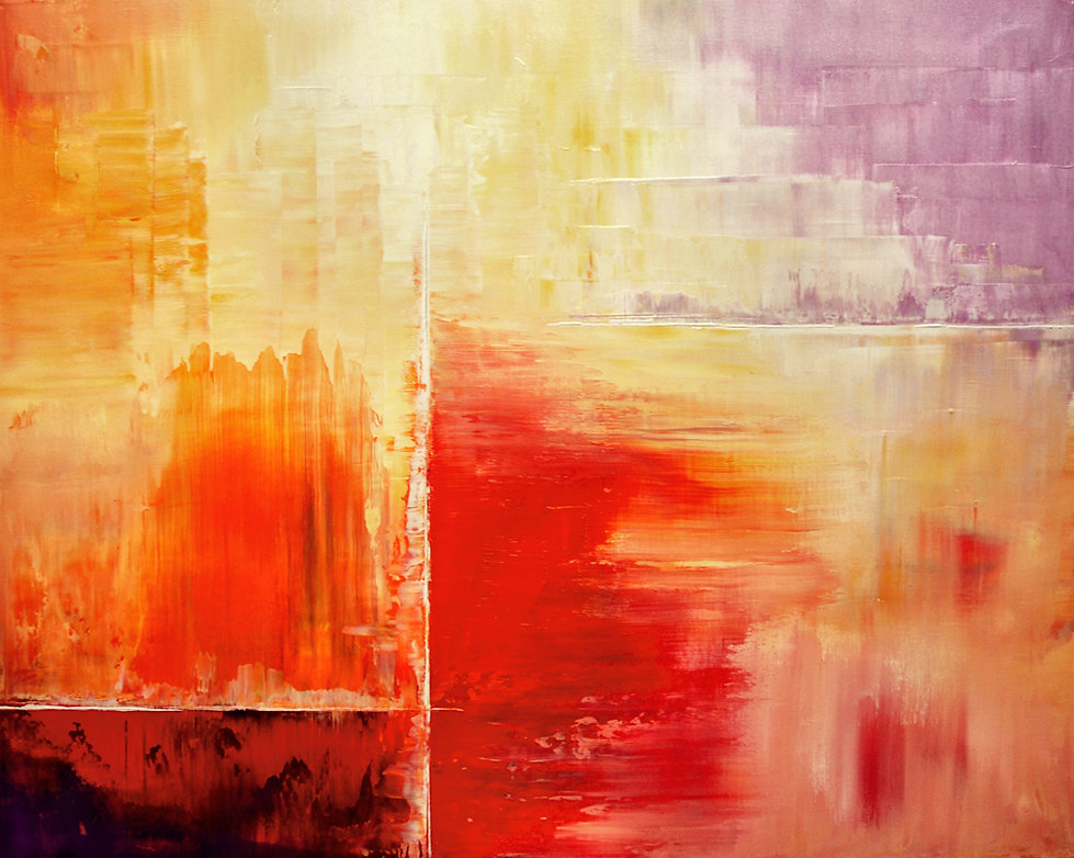 "contemporary original abstract painting by Tatiana Iliina, palette knife, red, beige, orange,  acrylic on canvas, 24""x30"""