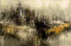 Eternally Chill, original abstract cityscape painting by Tatiana Iliina, palette knife, dark urban art
