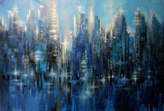 "large dark blue cityscape painting by Tatiana Iliina, palette knife, acrylic on canvas, 59""x40"""