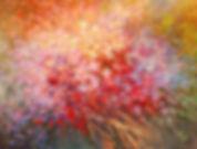 "original contemporary flower painting by Tatiana Iliina, palette knife, acrylic on canvas, 24'x36"""