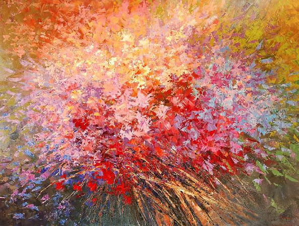 original contemporary flower painting by Tatiana Iliina, palette knife, acrylic on canvas, 24'x36""