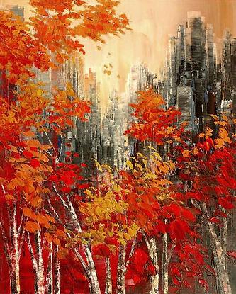"""Sunburnt Season impressionist painting by Tatiana Iliina palette knife, acrylic on canvas, 24""""x30"""""""
