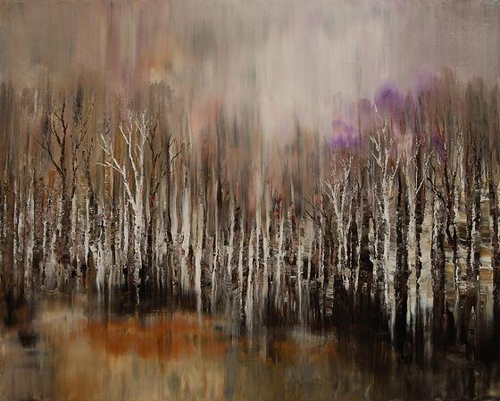 "original impressionist landscape painting, palette knife, forest, acrylic on canvas, 24'x36"""