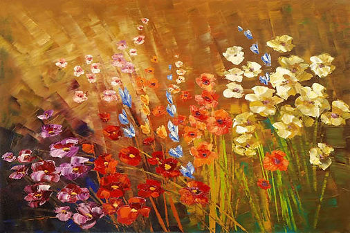 original contemporary flower painting by Tatiana Iliina, palette knife, texture, bright colors, acrylic on canvas, 24'x36""