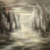 "original contemporary cityscape painting by Tatiana Iliina, palette knife, acrylic on canvas, 24'x36"""