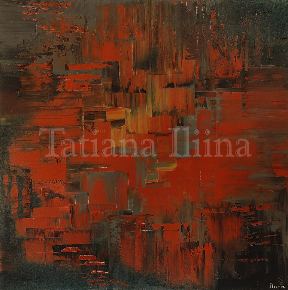 Building Trails, original dark rust abstract palette knife painting by Tatiana iliina