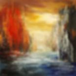 "original surreal cityscape by Tatiana Iliina, palette knife, contemporary, acrylic on canvas, 24'x36"""