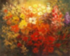 "Black Forest Hotel, original flower painting by Tatiana Iliina, palette knife, acrylic on canvas, 24""x30"""