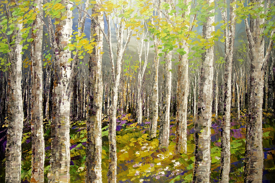original landscape forest painting for sale by Tatiana Iliina, palette knife, birch, acrylic on canvas