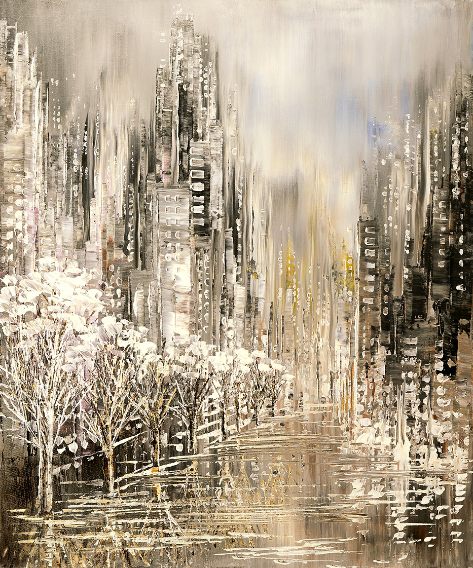 White Album original winter snow cityscape palette knife painting by Tatiana Iliina, with snow on autumn trees