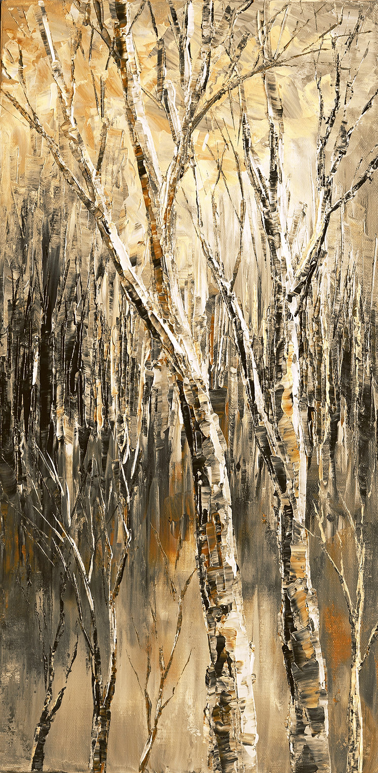 Branch Office, original landscape fall, winter forest painting by Tatiana ilina