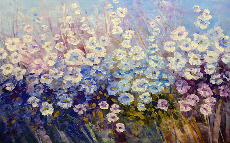 Dust of Sunshine, original contemporary palette knife flower painting by Tatiana iliina