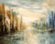 Morning by the Sea original city painting by Tatiana Iliina abstract cityscape painting
