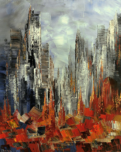 "original fall city painting by Tatiana Iliina, Autumn Abstract, palette knife,  acrylic on canvas, 16""x20"""