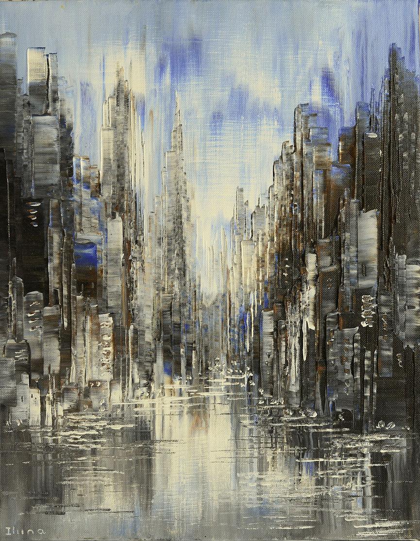 Rain Walk, original rainy,cityscape painting, steampunk palette knife by Tatiana Iliina