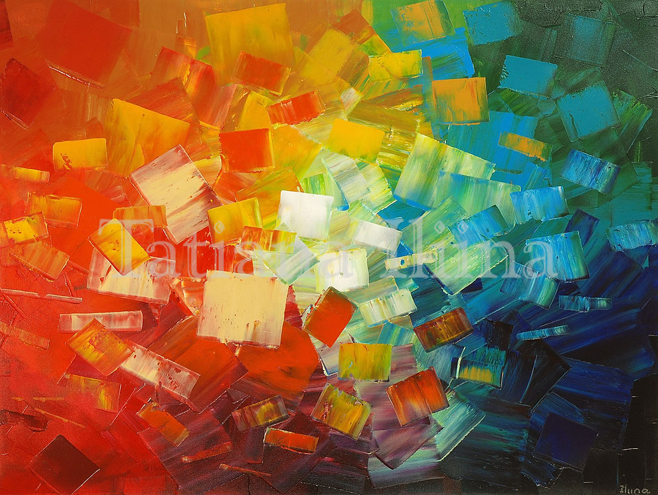 Art Lovers, original bright colors abstract palette knife painting by Tatiana iliina