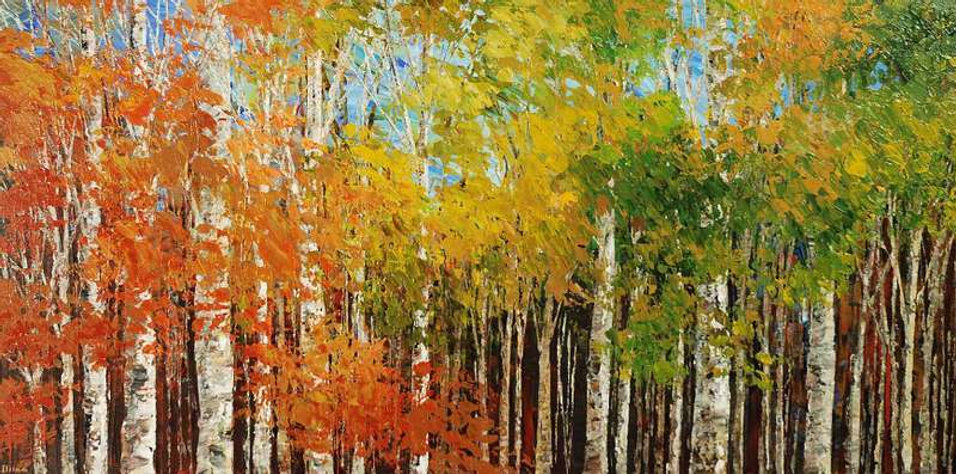 original landscape painting by Tatiana Iliina, Turning Point, palette knife, acrylic on canvas