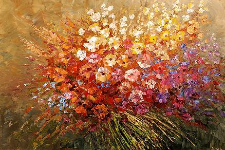 Wanderlust, original contemporary wild flower painting by Tatiana iliina