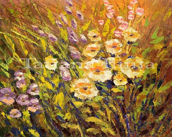 "She I Cherish'd, original flower painting by Tatiana Iliina, palette knife, acrylic on canvas, 16""x20È"