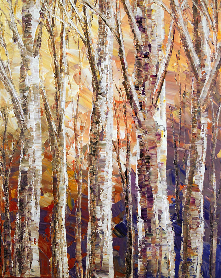 "Warm Breezes, original forest painting by Tatiana Iliina acrylic on canvas, 8""x16"""