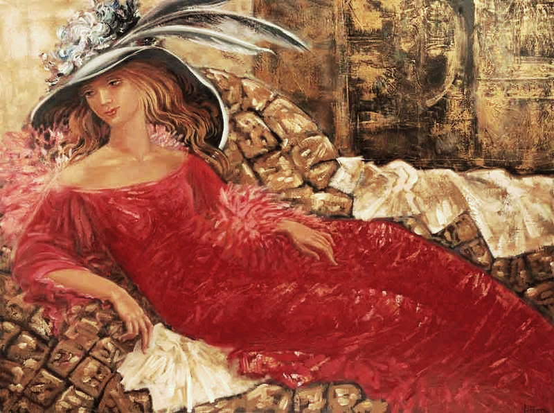 "Lady in Red, original figurative painting by Tatiana Iliina, acrylic on canvas, 30""x40"""