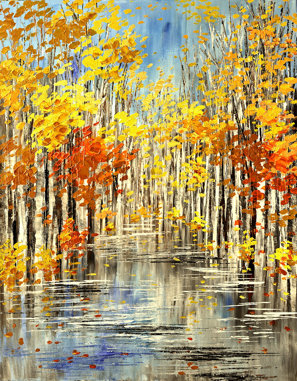 Cry Me a River, original fall landscape painting by Tatiana Iliina