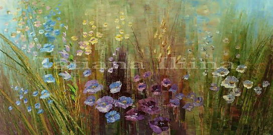 """original contemporary flower painting by Tatiana Iliina, floral, herbal, palatte knife, acrylic on canvas, 24'x36"""""""