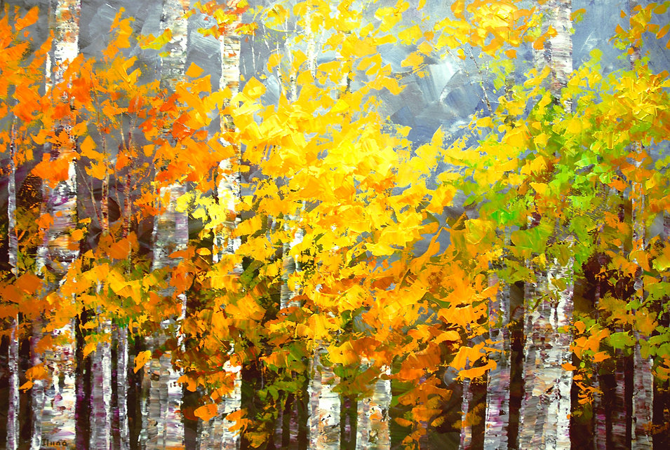"original contemporary landscape painting by Tatiana Iliina, palette knife acrylic on canvas, 24""x36"""