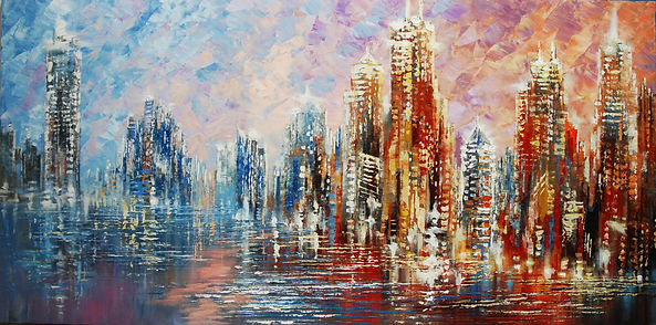 "original Chicago skyline cityscape painting by Tatiana Iliina, palette knife, acrylic on canvas, 24""x48"""