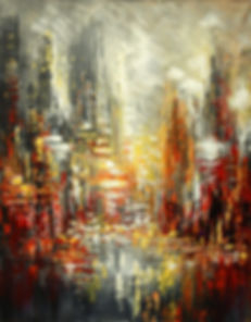 """Original urban cityscape painting by Tatiana Iliina, Nuits Blanches, palette knife, acrylic on canvasacrylic on canvas, 16""""x20"""""""